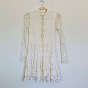 Forever 21 Off White Long Sleeve Lace Dress